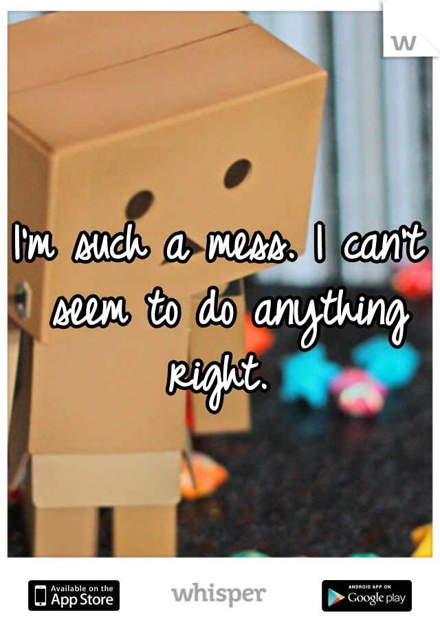 I'm such a mess. I can't seem to do anything right.