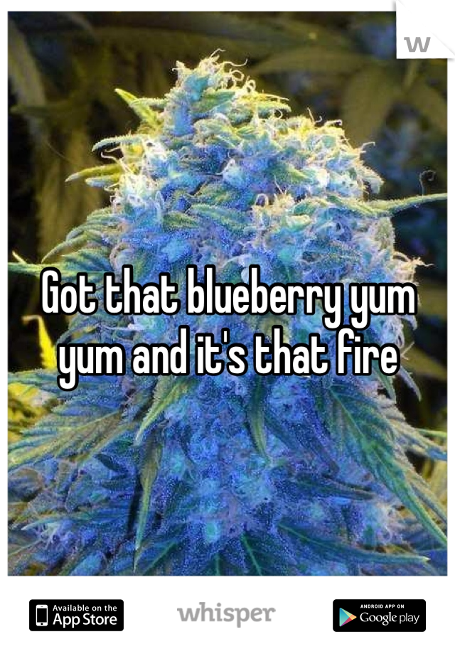 Got that blueberry yum yum and it's that fire