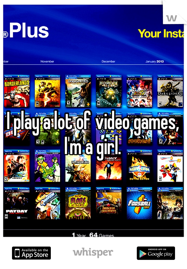 I play a lot of video games, I'm a girl.