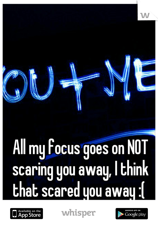 All my focus goes on NOT scaring you away, I think that scared you away :(