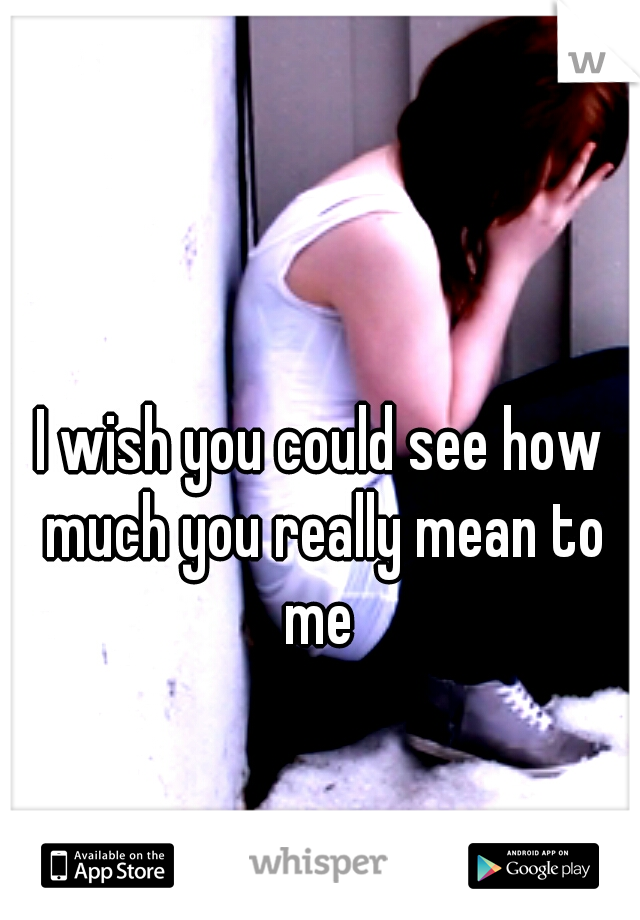 I wish you could see how much you really mean to me