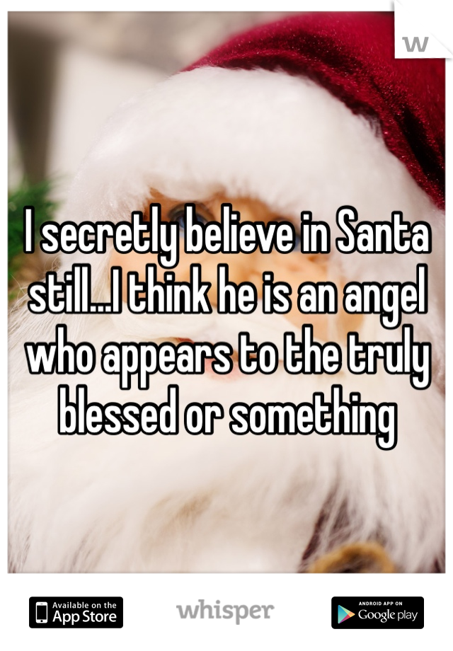 I secretly believe in Santa still...I think he is an angel who appears to the truly blessed or something