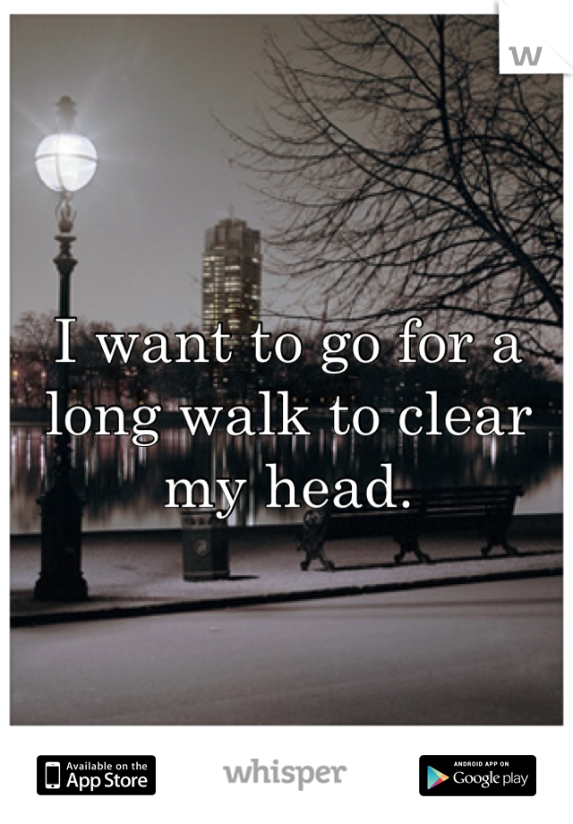 I want to go for a long walk to clear my head.