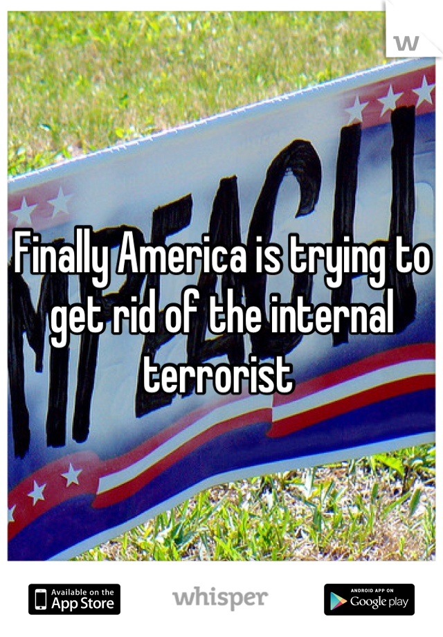 Finally America is trying to get rid of the internal terrorist