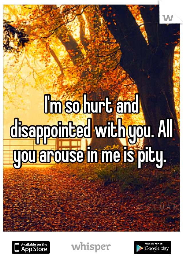 I'm so hurt and disappointed with you. All you arouse in me is pity.