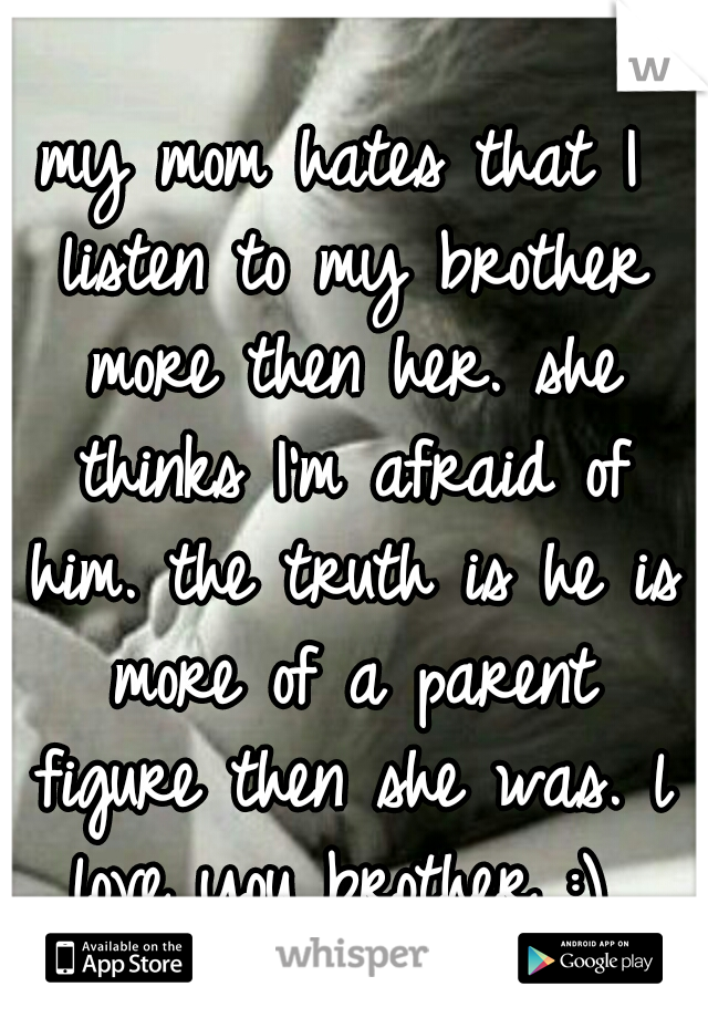 my mom hates that I listen to my brother more then her. she thinks I'm afraid of him. the truth is he is more of a parent figure then she was. l love you brother :)