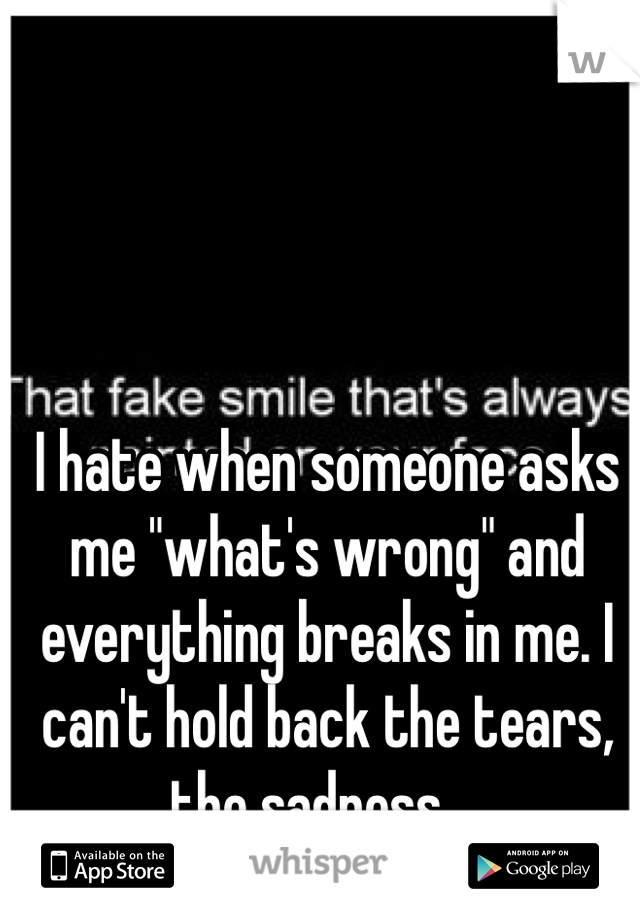 "I hate when someone asks me ""what's wrong"" and everything breaks in me. I can't hold back the tears, the sadness...."