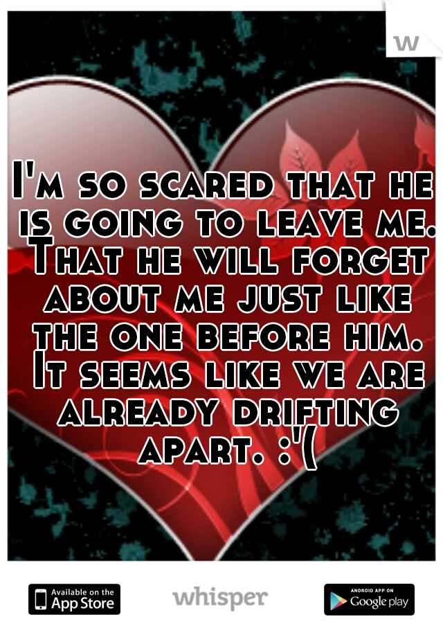 I'm so scared that he is going to leave me. That he will forget about me just like the one before him. It seems like we are already drifting apart. :'(