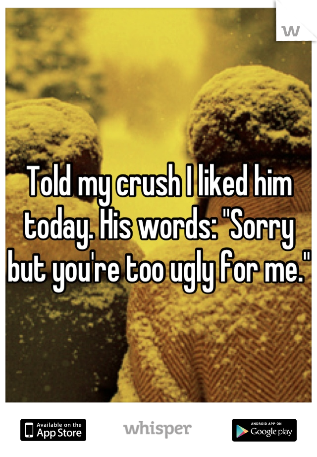 """Told my crush I liked him today. His words: """"Sorry but you're too ugly for me."""""""