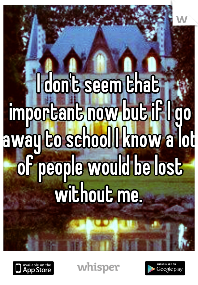 I don't seem that important now but if I go away to school I know a lot of people would be lost without me.