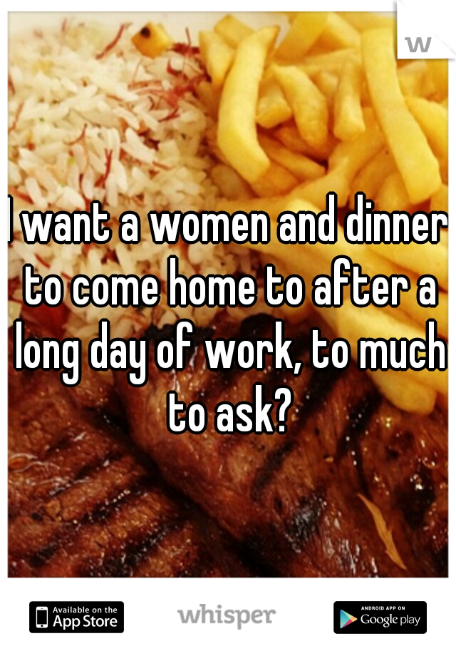 I want a women and dinner to come home to after a long day of work, to much to ask?