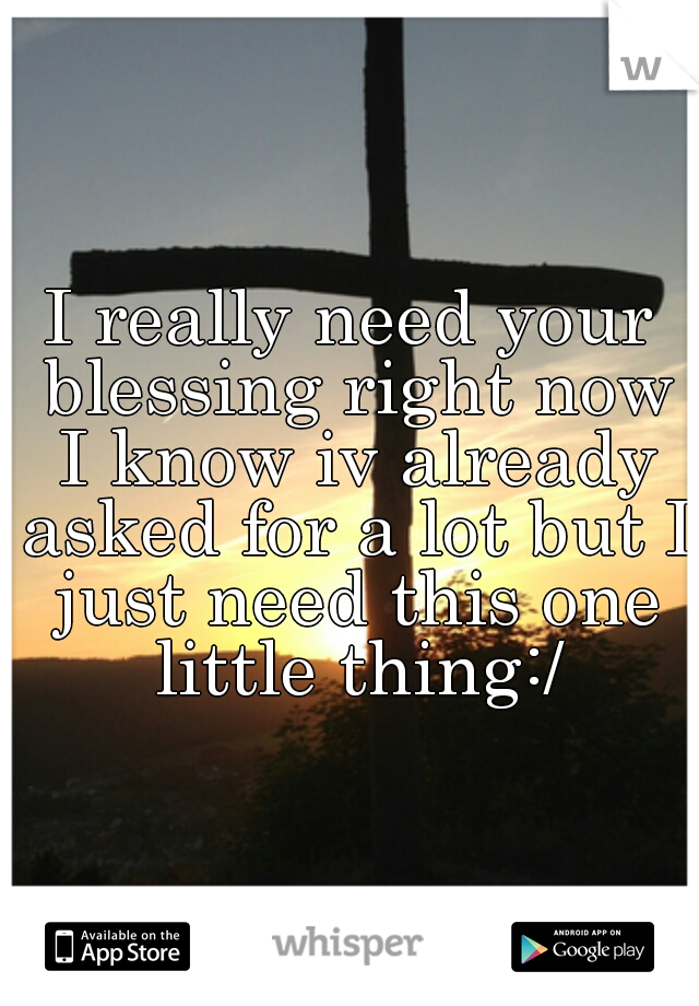 I really need your blessing right now I know iv already asked for a lot but I just need this one little thing:/