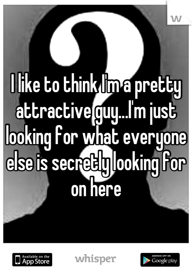 I like to think I'm a pretty attractive guy...I'm just looking for what everyone else is secretly looking for on here