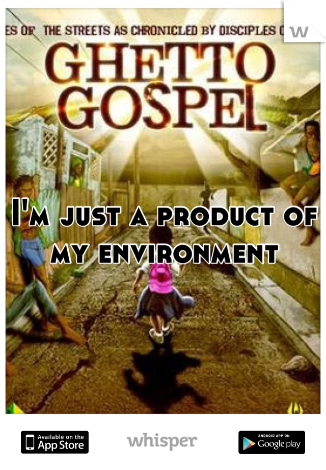 I'm just a product of my environment