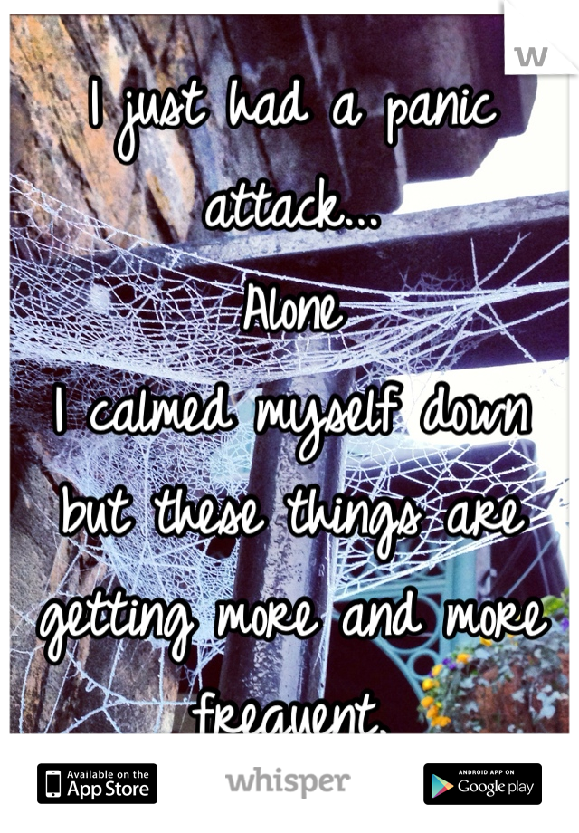 I just had a panic attack... Alone I calmed myself down but these things are getting more and more frequent.