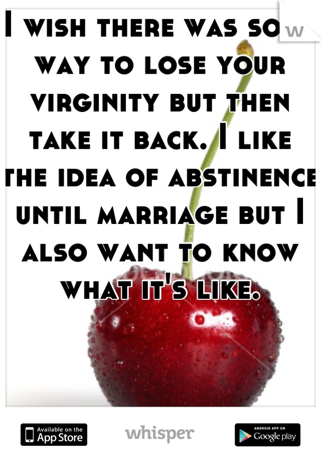 I wish there was some way to lose your virginity but then take it back. I like the idea of abstinence until marriage but I also want to know what it's like.
