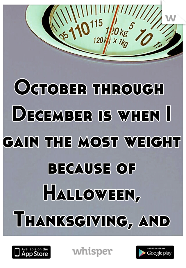 October through December is when I gain the most weight because of Halloween, Thanksgiving, and Christmas
