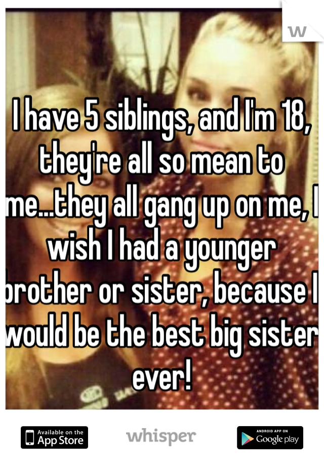 I have 5 siblings, and I'm 18, they're all so mean to me...they all gang up on me, I wish I had a younger brother or sister, because I would be the best big sister ever!