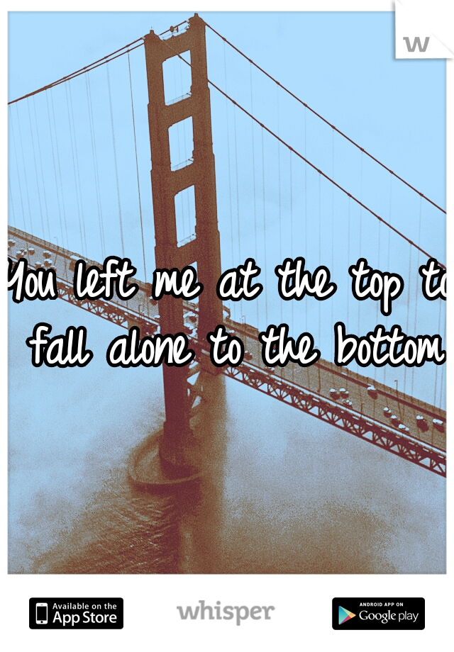 You left me at the top to fall alone to the bottom