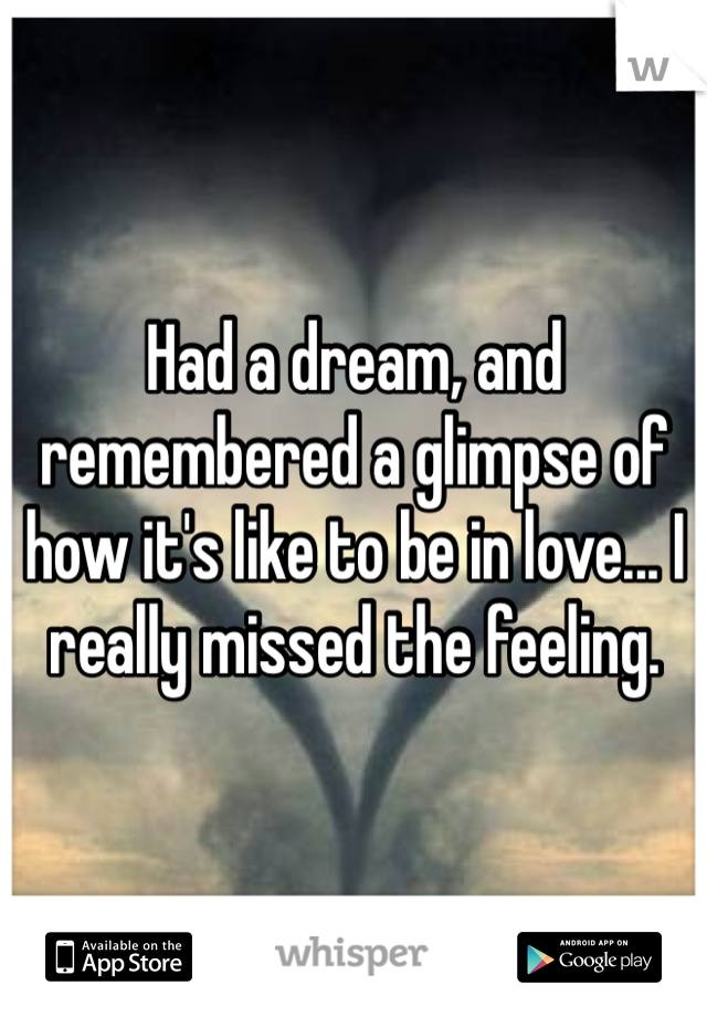 Had a dream, and remembered a glimpse of how it's like to be in love... I really missed the feeling.