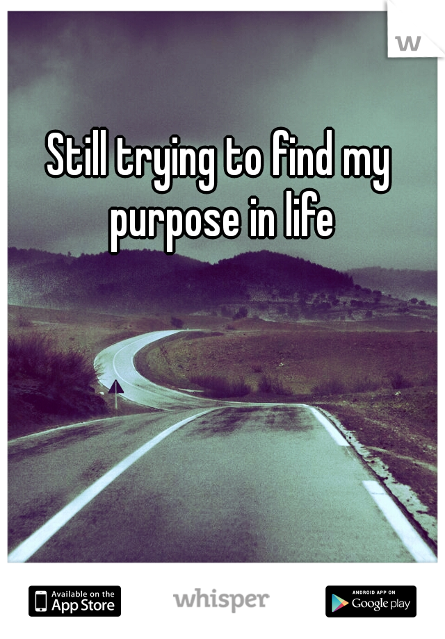 Still trying to find my purpose in life