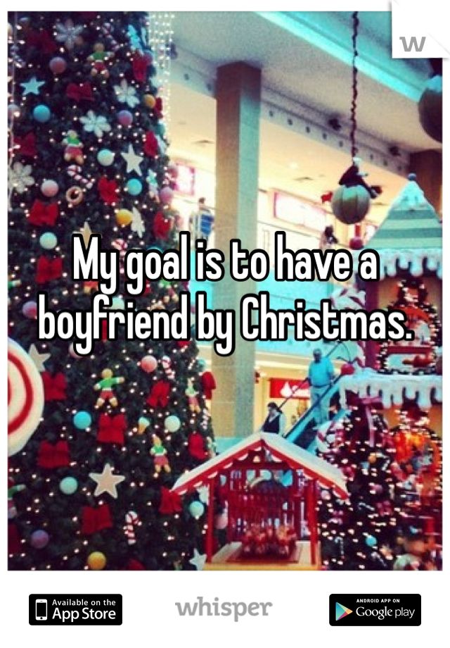 My goal is to have a boyfriend by Christmas.