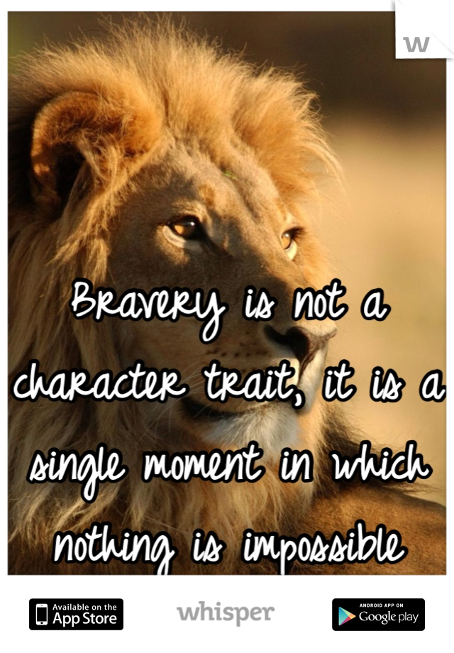 Bravery is not a character trait, it is a single moment in which nothing is impossible