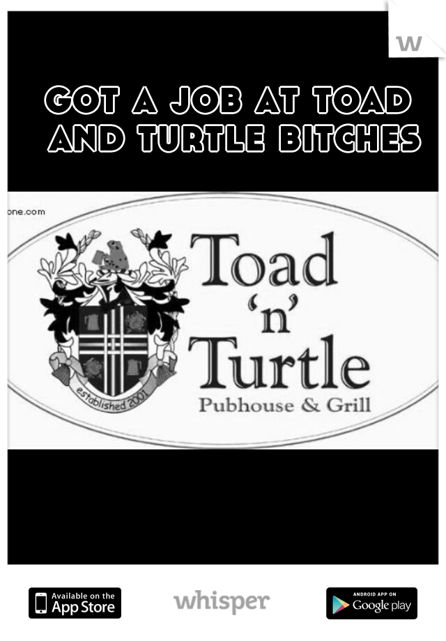 got a job at toad and turtle bitches