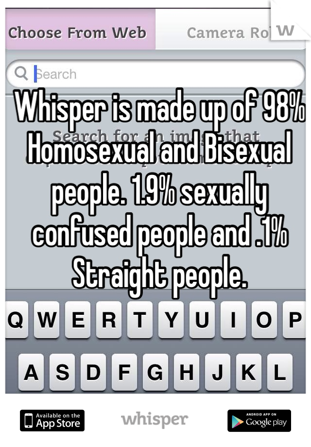 Whisper is made up of 98% Homosexual and Bisexual people. 1.9% sexually confused people and .1% Straight people.