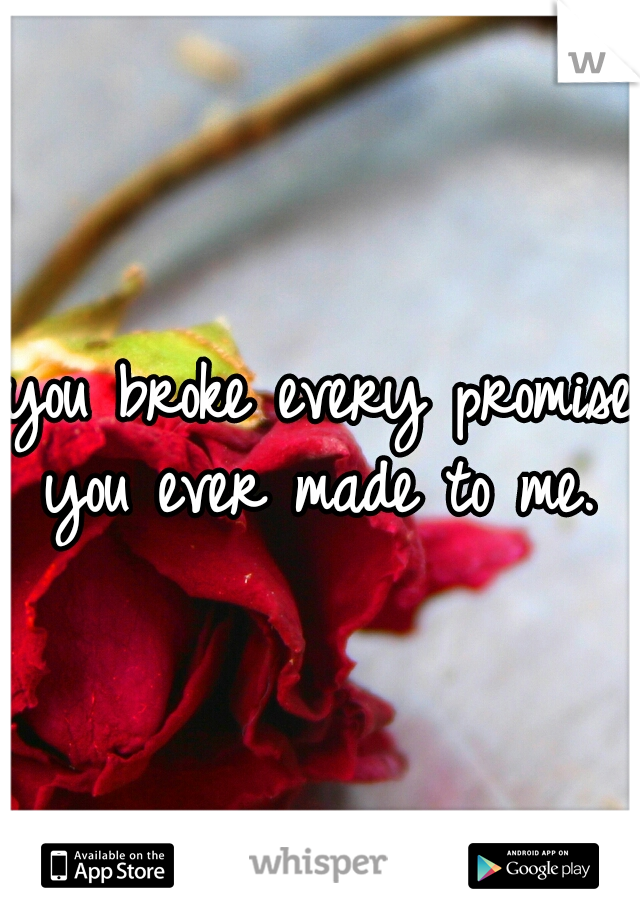 you broke every promise you ever made to me.