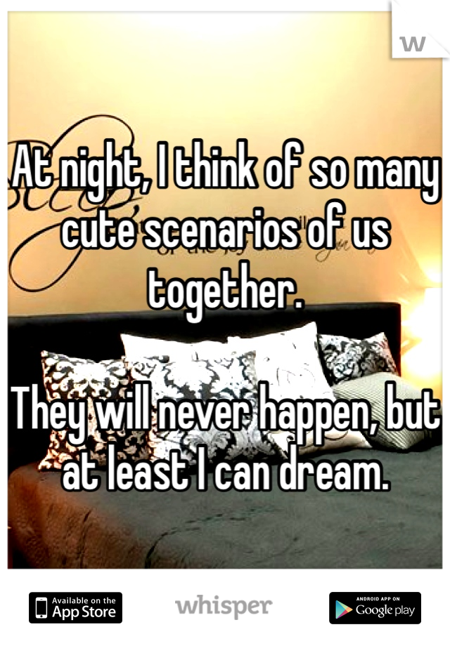 At night, I think of so many cute scenarios of us together.  They will never happen, but at least I can dream.