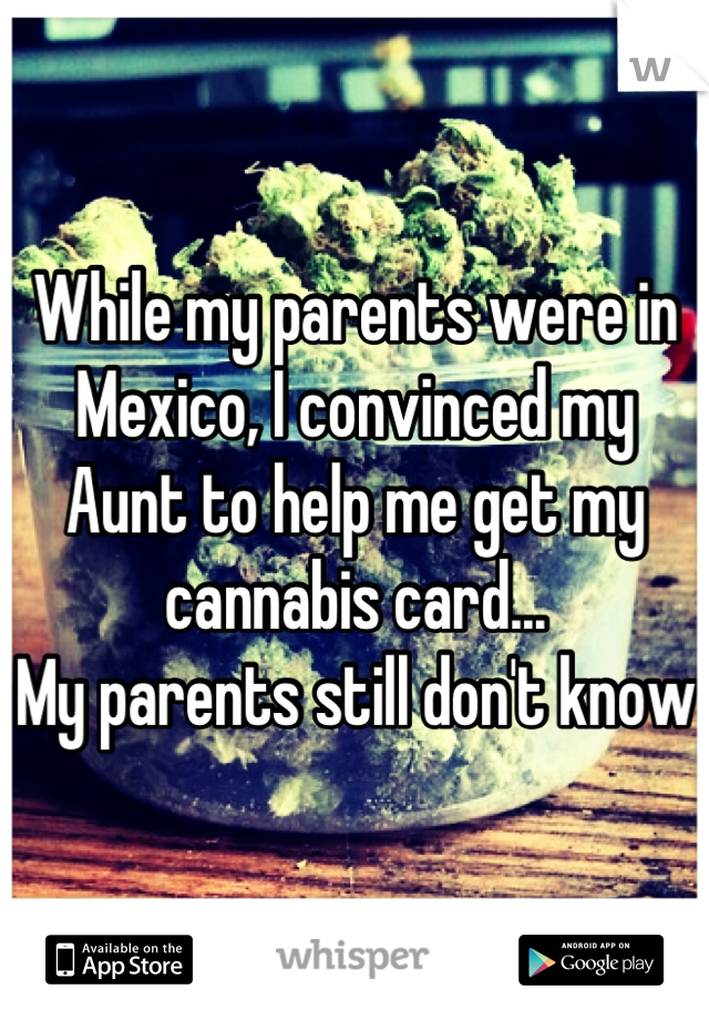 While my parents were in Mexico, I convinced my Aunt to help me get my cannabis card... My parents still don't know