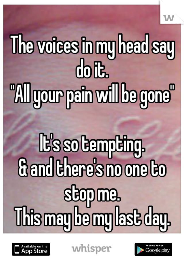 """The voices in my head say do it.  """"All your pain will be gone""""   It's so tempting.  & and there's no one to stop me.  This may be my last day."""