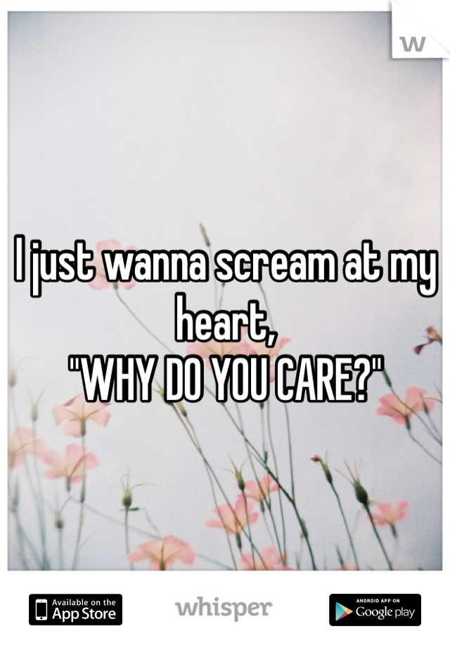 """I just wanna scream at my heart, """"WHY DO YOU CARE?"""""""