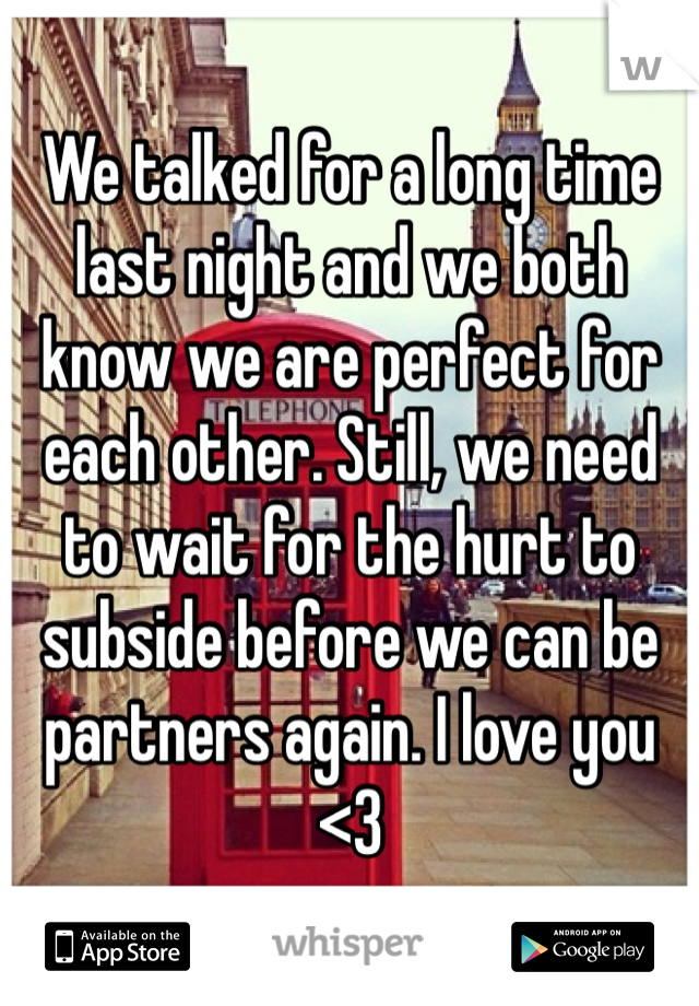 We talked for a long time last night and we both know we are perfect for each other. Still, we need to wait for the hurt to subside before we can be partners again. I love you <3