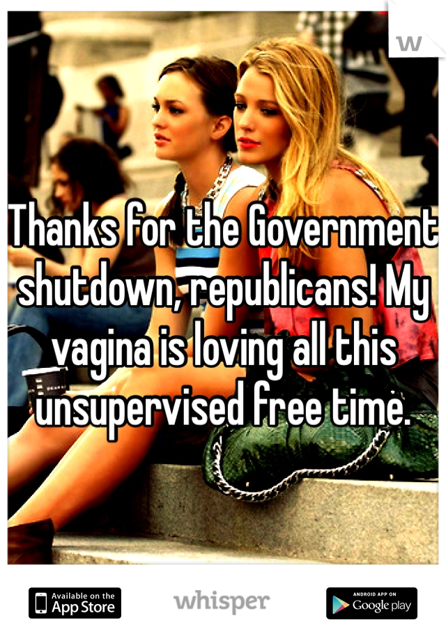 Thanks for the Government shutdown, republicans! My vagina is loving all this unsupervised free time.