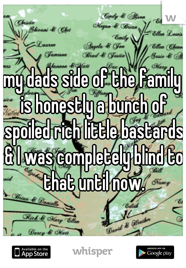 my dads side of the family is honestly a bunch of spoiled rich little bastards & I was completely blind to that until now.