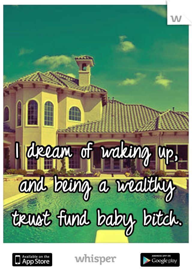 I dream of waking up, and being a wealthy trust fund baby bitch.