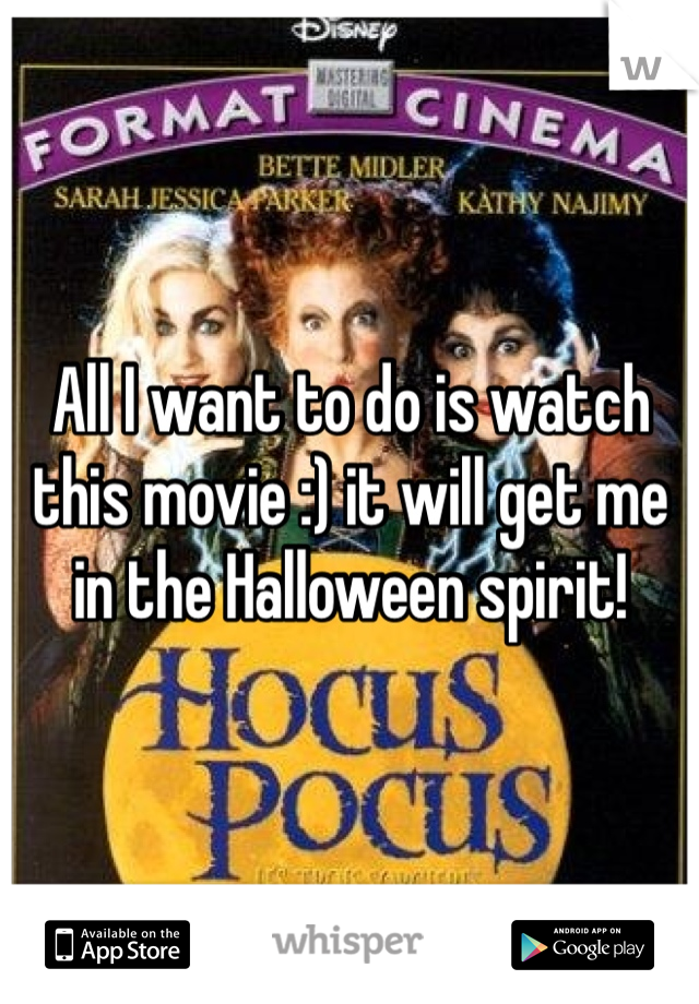 All I want to do is watch this movie :) it will get me in the Halloween spirit!