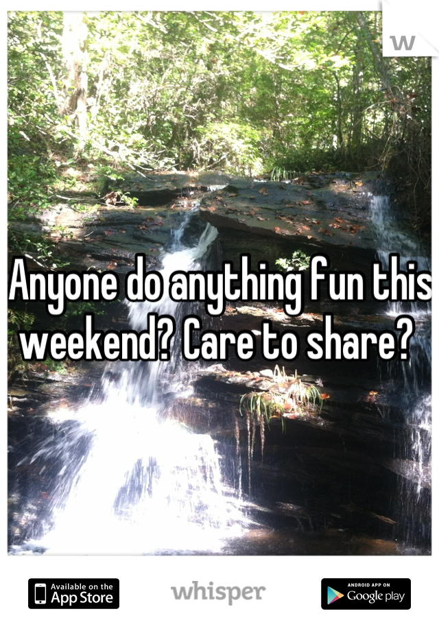 Anyone do anything fun this weekend? Care to share?