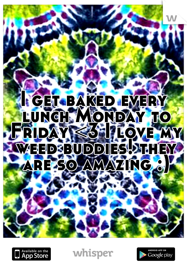 I get baked every lunch Monday to Friday <3 I love my weed buddies! they are so amazing :)