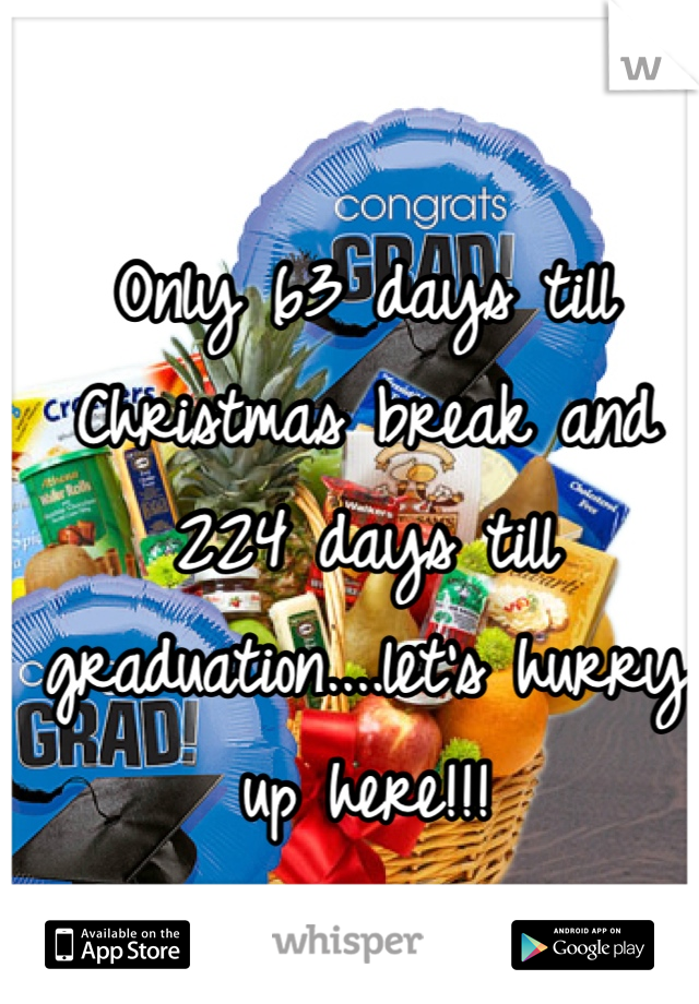 Only 63 days till Christmas break and 224 days till graduation....let's hurry up here!!!
