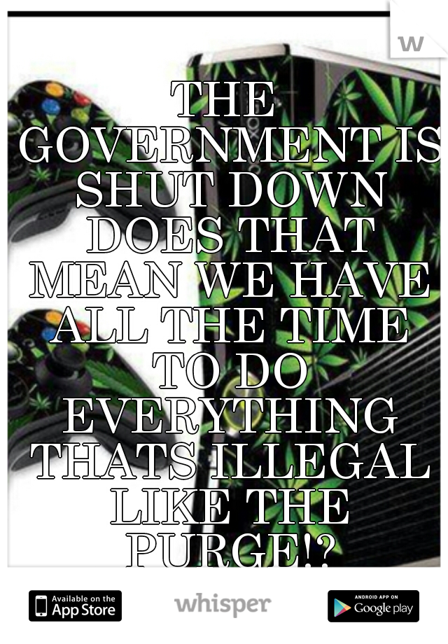 THE GOVERNMENT IS SHUT DOWN DOES THAT MEAN WE HAVE ALL THE TIME TO DO EVERYTHING THATS ILLEGAL LIKE THE PURGE!?