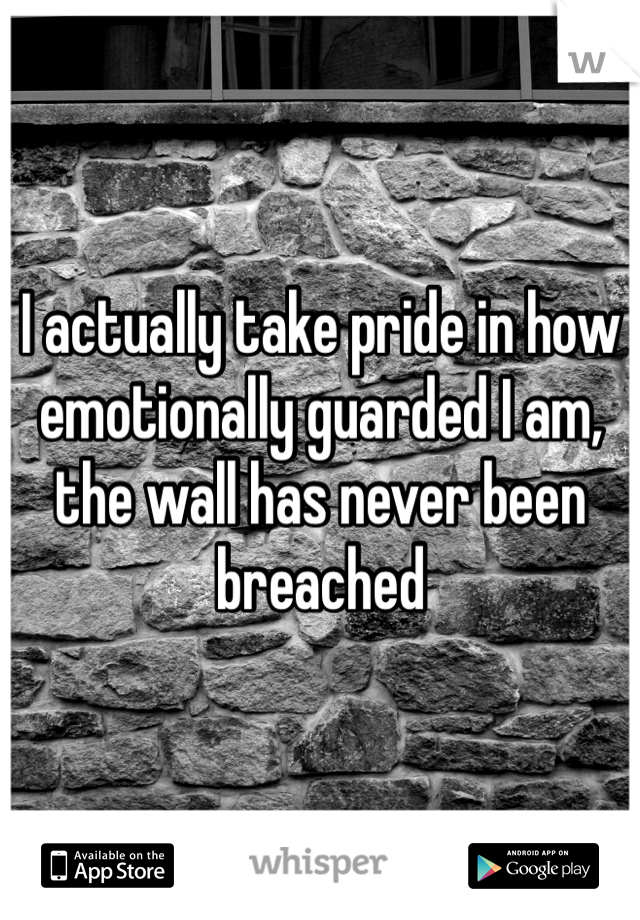 I actually take pride in how emotionally guarded I am, the wall has never been breached