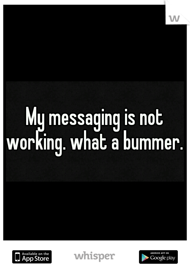 My messaging is not working. what a bummer.