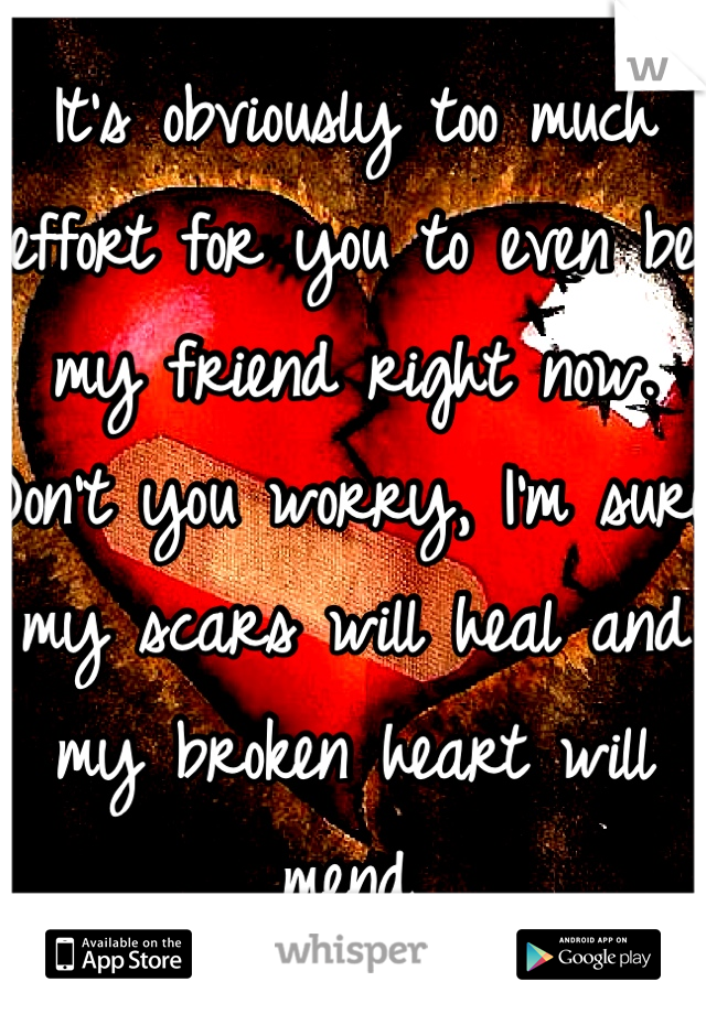 It's obviously too much effort for you to even be my friend right now. Don't you worry, I'm sure my scars will heal and my broken heart will mend.