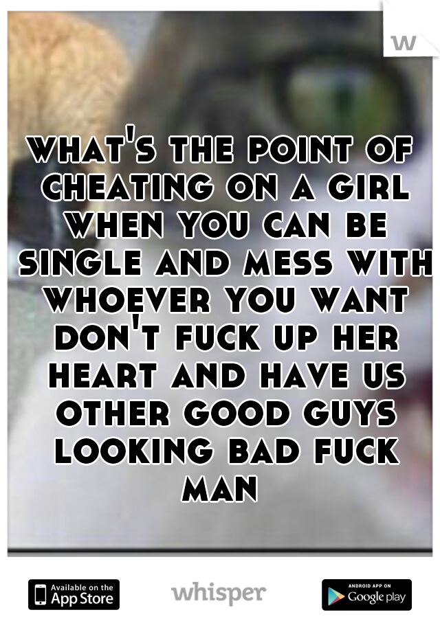 what's the point of cheating on a girl when you can be single and mess with whoever you want don't fuck up her heart and have us other good guys looking bad fuck man