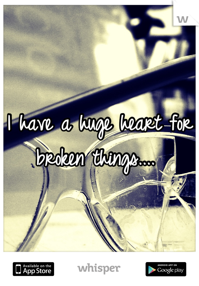 I have a huge heart for broken things....