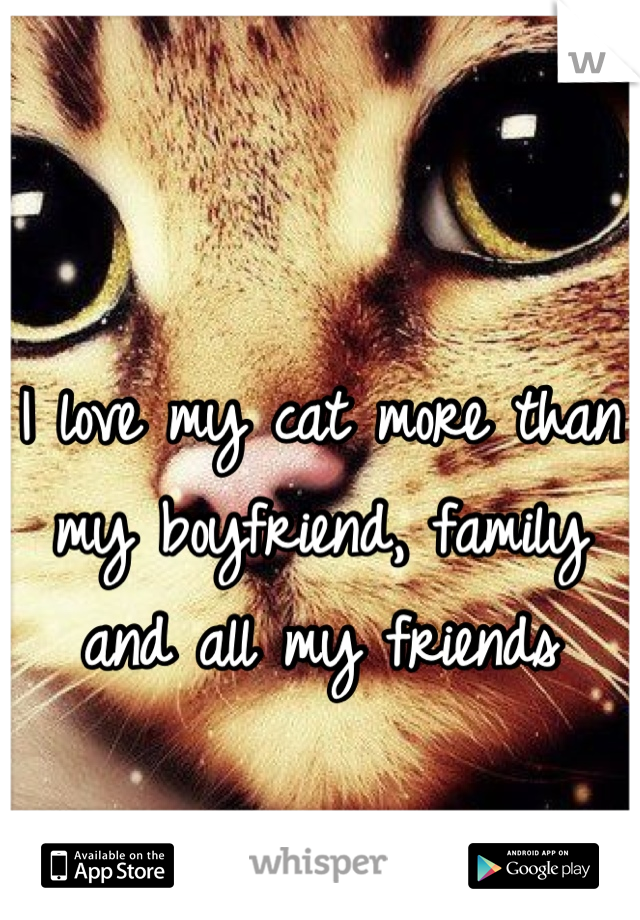 I love my cat more than my boyfriend, family and all my friends