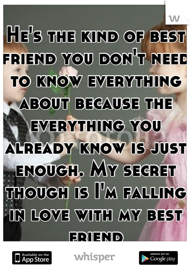 He's the kind of best friend you don't need to know everything about because the everything you already know is just enough. My secret though is I'm falling in love with my best friend